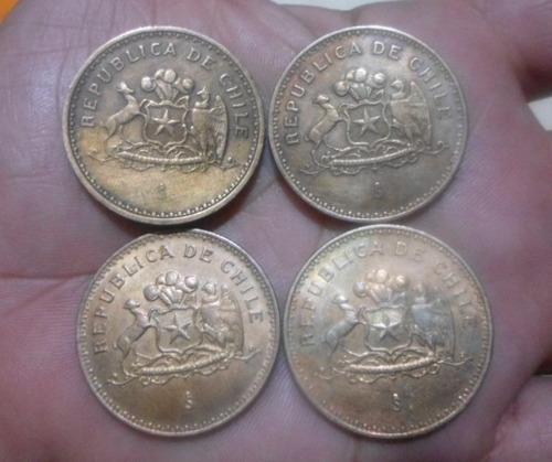 moedas 100 pesos - chile (1985, 1989, 1992, 1993) - quarteto