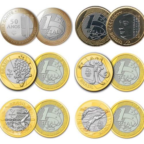 moedas comemorativas de 1 real - frete grátis! (8 unidades)