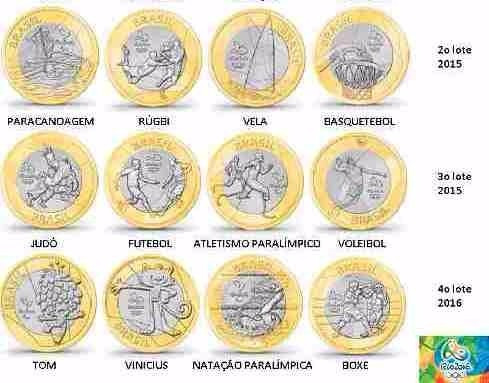 moedas das olimpíadas  dos jogos olímpicos rio 2016 avulsas