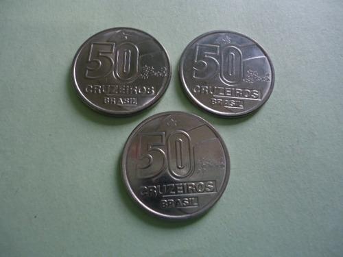 moedas de 50 cruzeiros de 1990 / 1991 / 1992  baiana serie