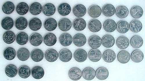 moedas quarter dollar estados - tenho todas d ou p