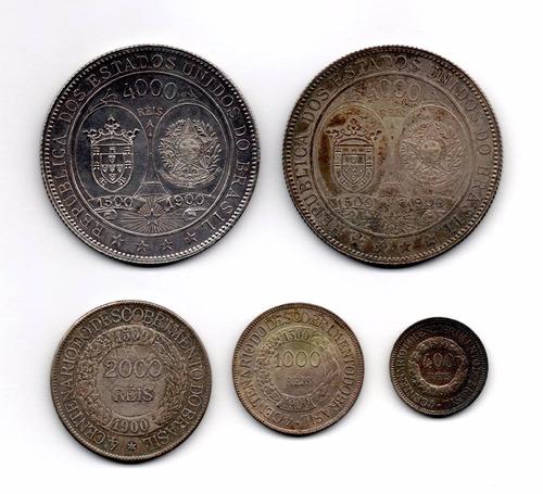 moedas reis serie 1900 - 4000 reis 20 raios