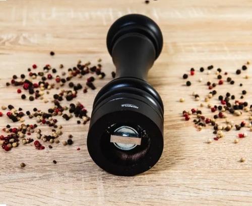 moedor de pimenta e sal grosso em madeira preto moinho inox