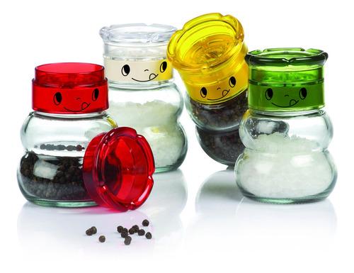 moedor de sal e pimenta de vidro belle maison kit 4 peças