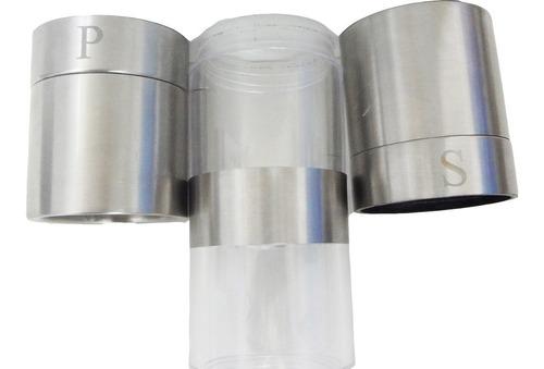 moedor sal pimenta duplo em aço inox regulagem grande vidro