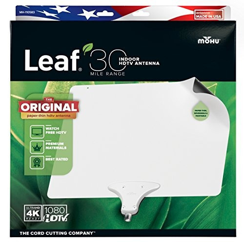 mohu leaf 30 tv antena, interior, 30 mile range, original...