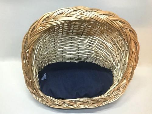 moises/cama de mimbre con almohada de denim iglu