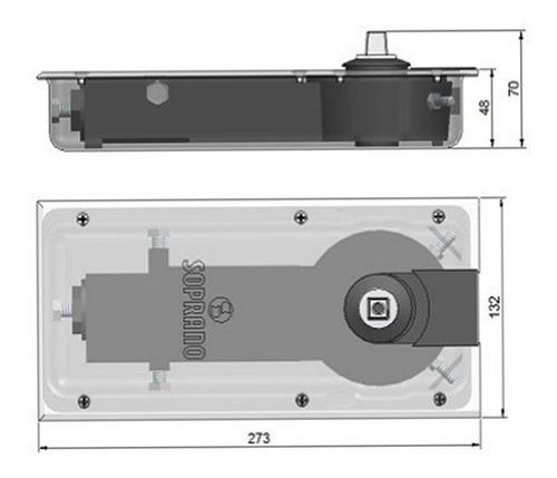 mola soprano de piso para portas de vidro modelo p310