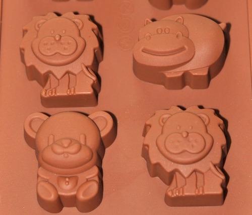 molde bandeja recipiente zoo hipo/león/oso chocolate/jabón