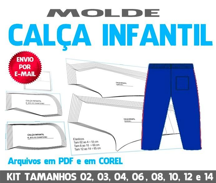 ae9e2e2b2 Molde Calça Infantil Para Uniforme Escolar - Moldes Digitais - R  19 ...