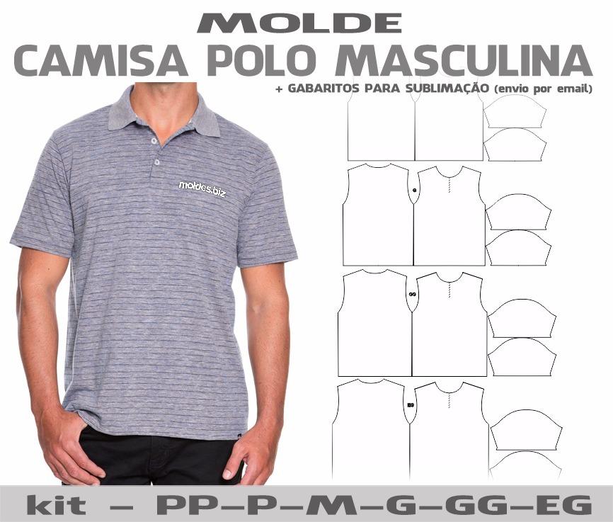 eaa491b870 molde camisa polo masculina feminina - costura e sublimação. Carregando  zoom.