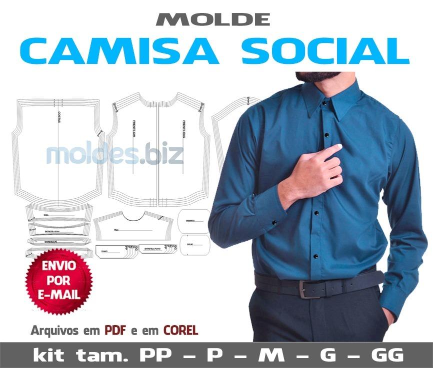 molde camisa social masculina (envio por email). Carregando zoom. 2480084a29c44