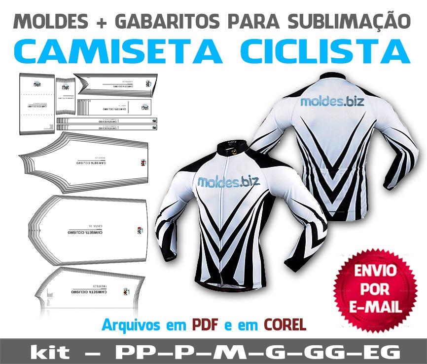 c435820137 Molde Camiseta Ciclista Masculina Manga Curta Elonga - R  19