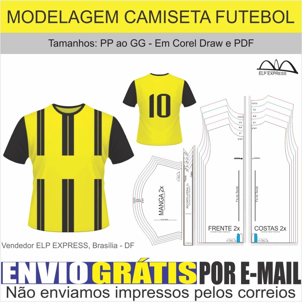 Molde Camiseta Futebol ( Pp Ao Gg) + Gabarito Sublimação - R  19 5a10bce398ef7