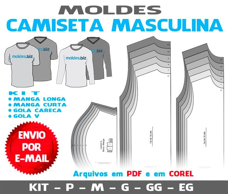 00c95f6cfd molde camiseta masculina - gola v - gola careca. Carregando zoom.