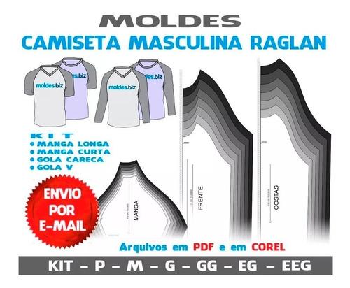 molde camiseta masculina raglan unissex costura e sublimação