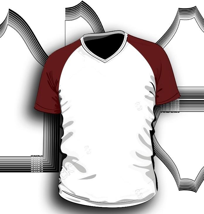 c98f365bce Molde Camiseta Raglã Gola V E Careca Manga Curta E Longa - R  19