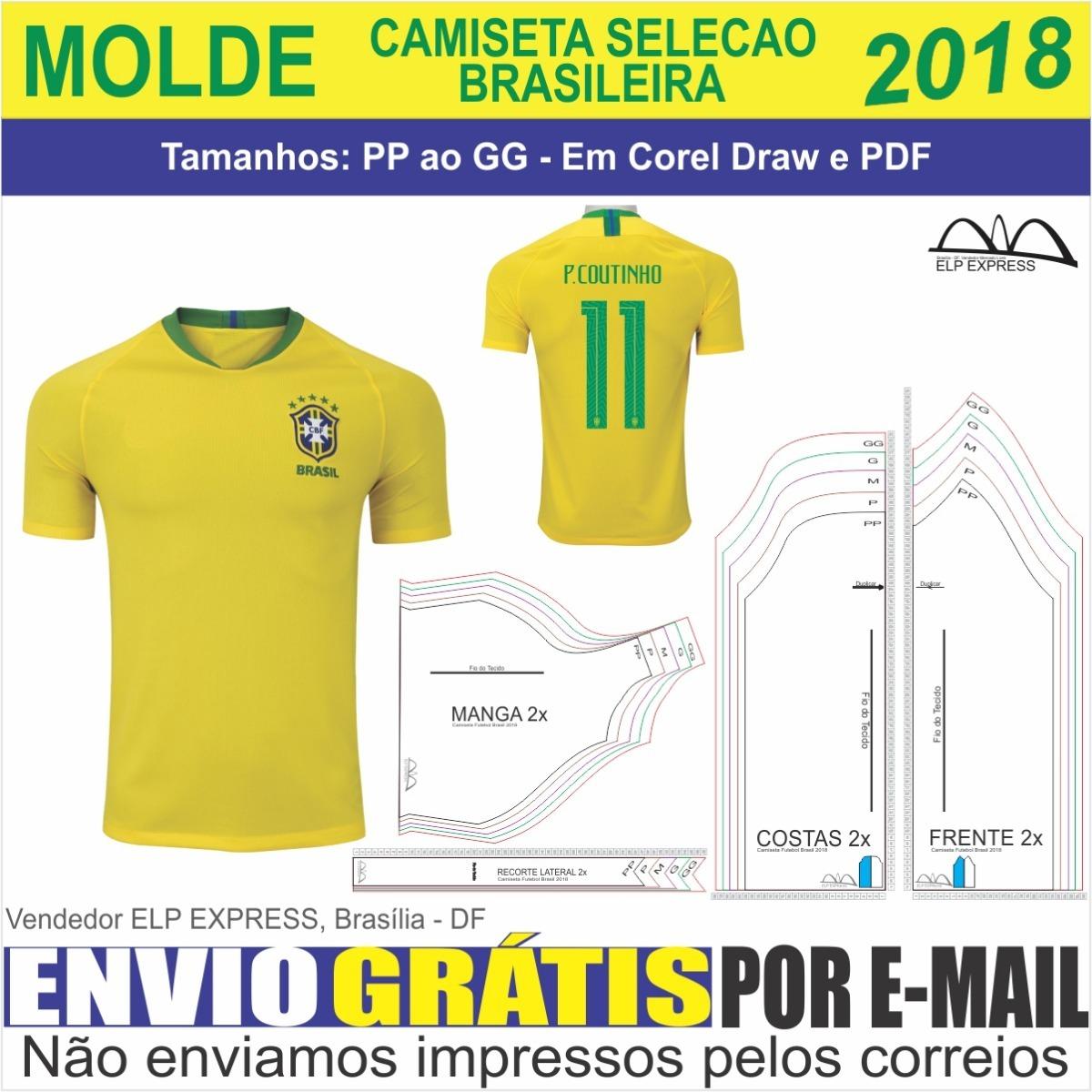 31fd302c93 Molde Camiseta Seleção Brasileira 2018 (pp Ao Gg)+sublimação - R  14 ...