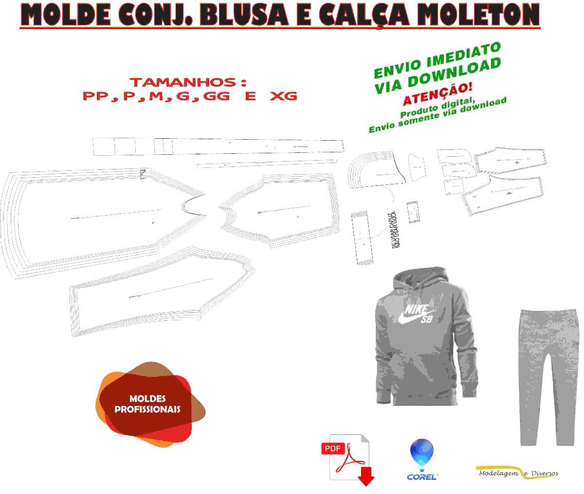 d149c99faef11 Molde Conj. Calça E Blusa Moleton Pp Ao Xg Em Corel E Pdf - R  22