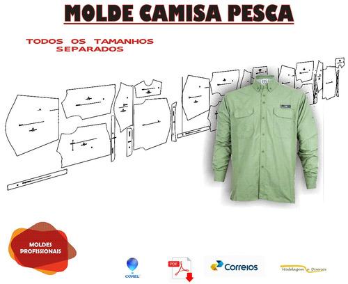molde de camisa pesca do p ao gg envio correios ou email pdf