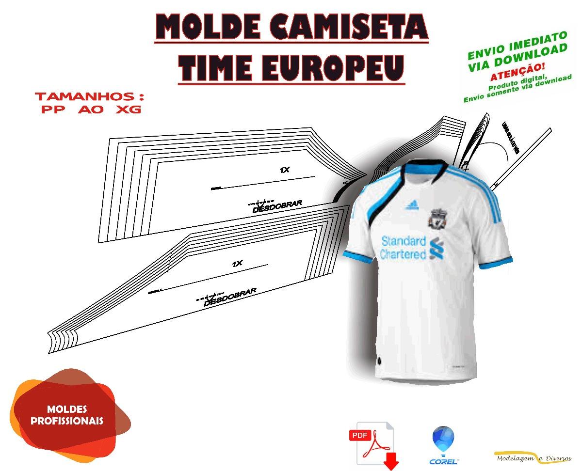 eb902dd6c4052 Molde De Camiseta Time Europeu P Ao Xg
