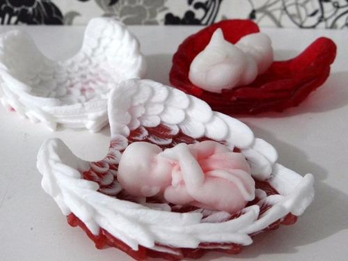 molde de caucho de silicona ala de angel + 1 moldes de bebe.