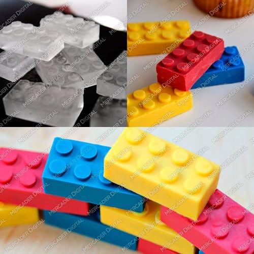 molde de silicón de bloques lego hielo chocolate jabón velas