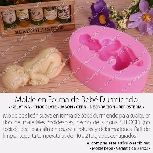 molde de silicón en forma de bebe durmiendo jabón cera hielo