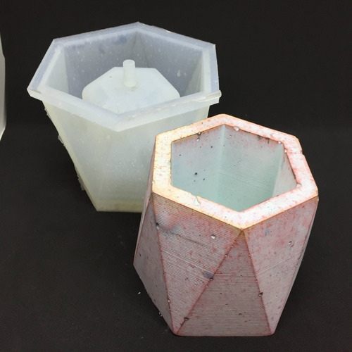 molde de silicona para macetas, geometrico hexagonal, 10cm