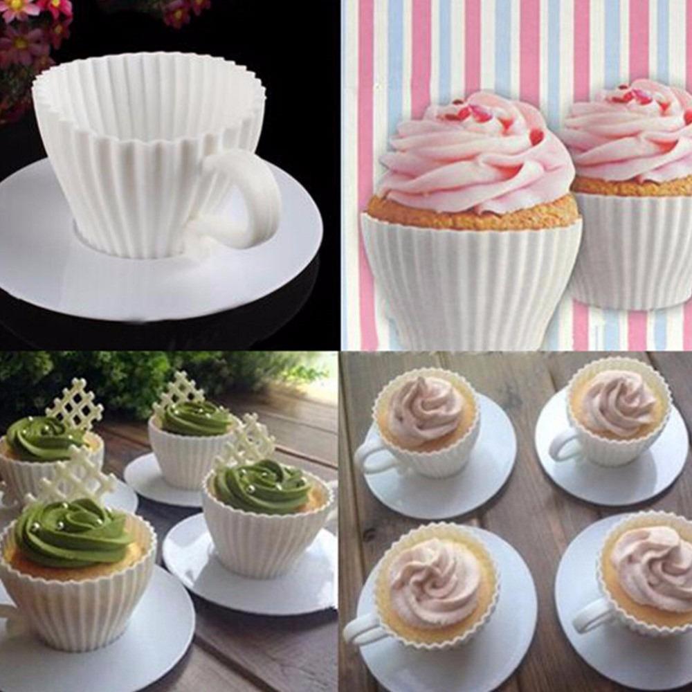 Molde de silicona taza para hornear cupcake queque x4 blanco s 25 00 en mercado libre - Moldes cupcakes silicona ...