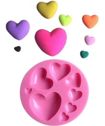 molde de silicone 8 corações biscuit pasta americana