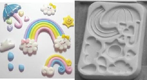 molde de silicone chuva de amor biscuit pasta americana