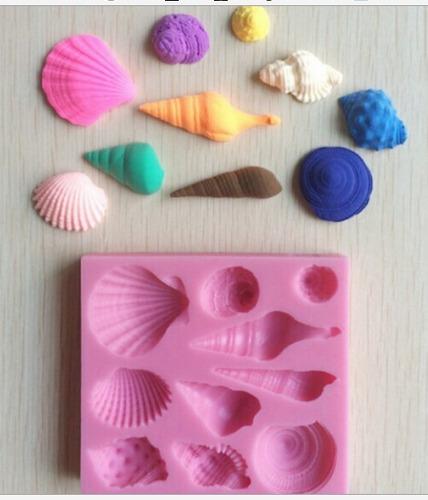 molde de silicone conchas mar biscuit pasta americana