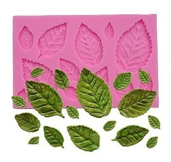 molde de silicone folhas biscuit pasta americana