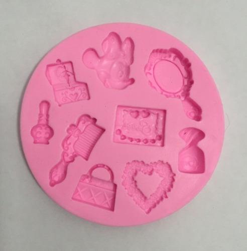 molde de silicone mini, bolsa, perfume p/ decoração de bolos