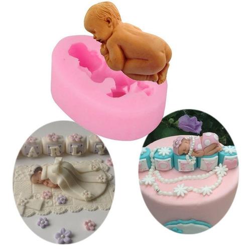 molde  de silicone para confeitar bolos bebe 3 d