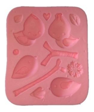 molde de silicone passarinhos biscuit pasta americana
