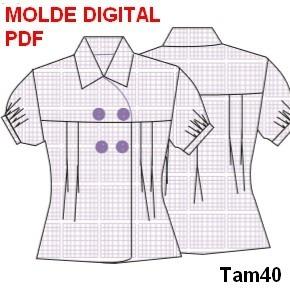Molde Digital Camisa Social Feminina Blusa Modelagem Em Pdf - R  9 ... 453529f80c1ad
