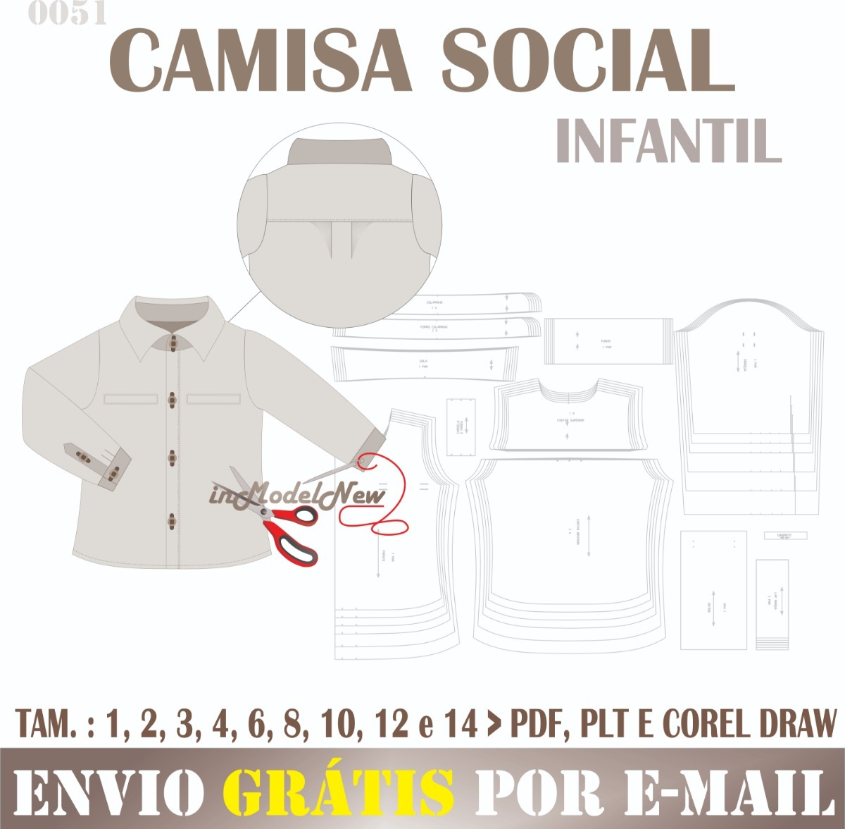 Molde Digital De Camisa Social Infantil Modelagem Especial - R  25 ... 1fe454f1f2749