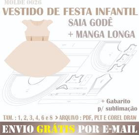e1e940521fcbaf Molde Digital Modelagem Vestido De Festa Infantil Saia Godê