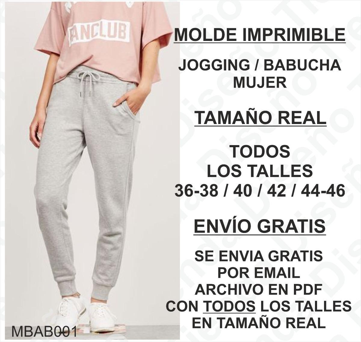 Molde Imprimible Jogging Mujer Talle Xs Al Xl Envío Gratis -   50 9bdc5cddf71a