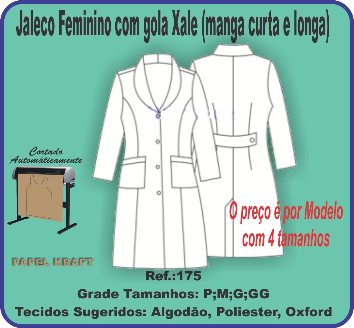 Molde Jaleco Feminino Com Gola Xale Manga Curta E Longa 175 R