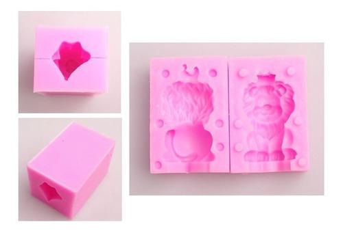 molde león 3d silicón jabones velas fig resina horno congela