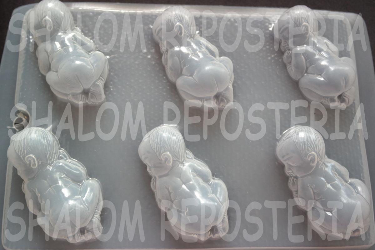 *molde Mediano Gomitas Jabon Gelatina 6 Bebes 3d Baby