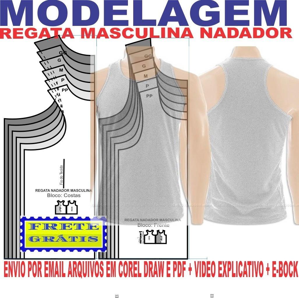 40f6ff676f molde modelagem camiseta regata nadador masculina. Carregando zoom.