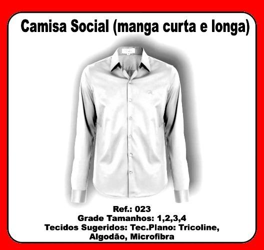 Molde Modelagem Costura Camisa Social Masculino Uniforme - R  120 2e59c2a1302d6