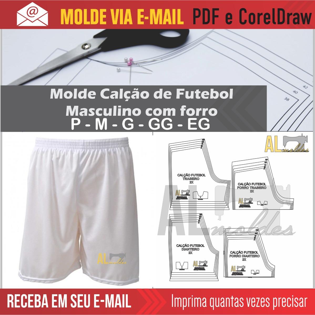 molde modelagem shorts calção futebol masculino com forro. Carregando zoom. d9b079b33e2f9