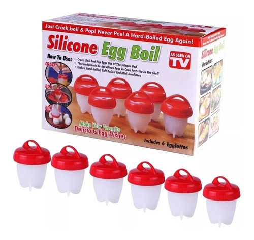molde para huevo cocinado en silicona x 6 uds egg boil