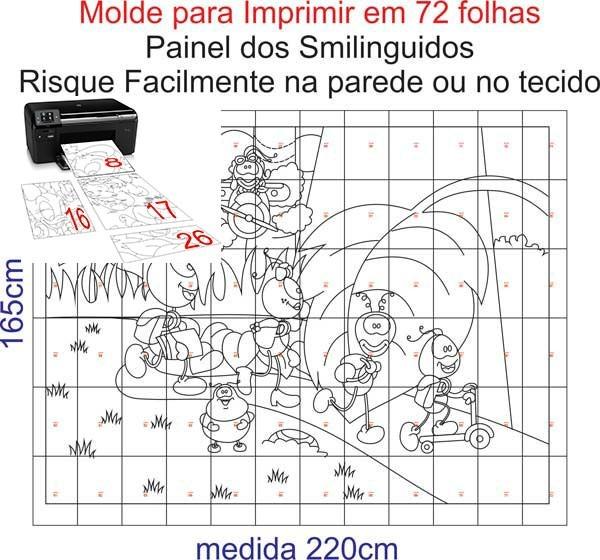 Molde Para Imprimir Painel Smilinguidos 160cmx220cm Cod 0022 R