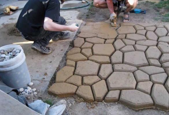 Molde para piso banqueta concreto estampado tipo piedra for Cemento estampado precio